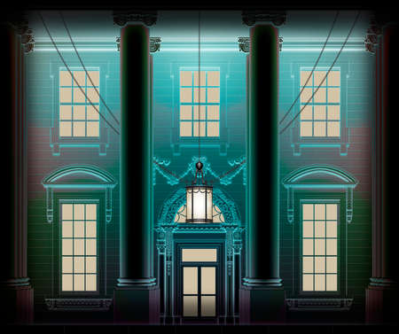 Close up of the front door and windows of the White House, in eerie blue light at night. 3D Illustration