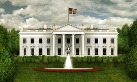 North view of the White House, including shrubs , trees, the south lawn, the rose garden , and fountain – against a bluy sky. 3D Illustration