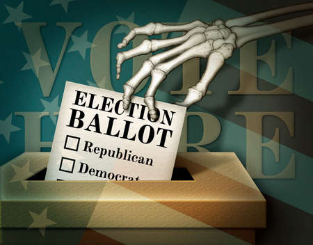 A dead man dropping a ballot into a slotted box. U.S. Stars and Stripes overlay the entire scene. 3D Illustration3D