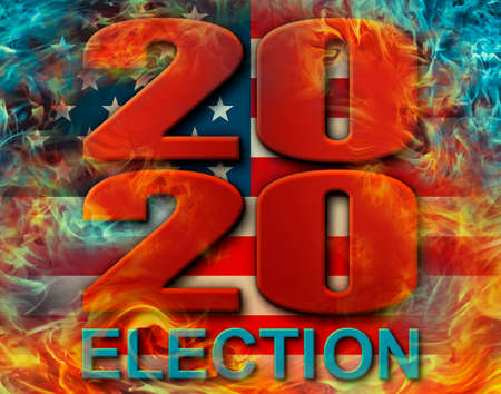 The year 2020  anf the word ELECTION engulfed in flames, with a background of the United States Flag Stars and Stripes. 3D Illustration