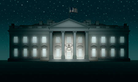 Blue toned White House against a bluy sky and dark flat ground. 3D Illustration Stock Photo