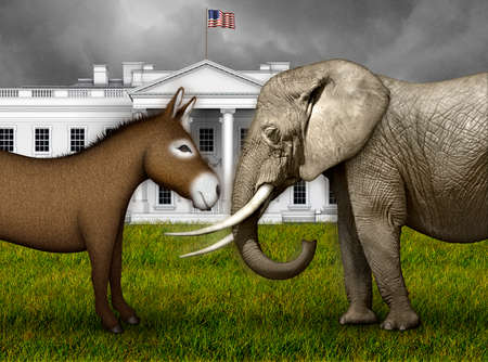 Donkey and Elephant ready for battle on the lawn in front of the north side of the White House. 3D Illustration