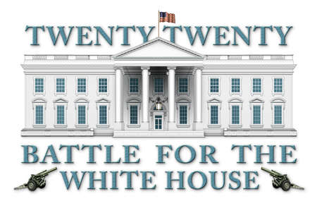 Banner titled Twenty Twenty, Battle For The White House.  Includes the White House and two Artillery guns.  3D Illustration