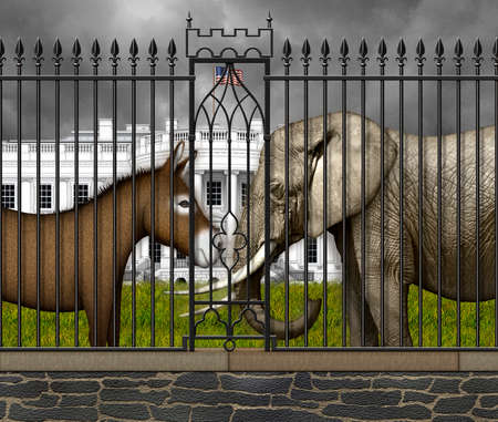 Donkey and Elephant ready for battle, behind the fence, on the south lawn in front of the White House . 3D Illustration Banco de Imagens