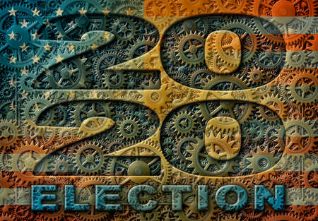 The year 2020 and the word ELECTION illustrated with a pattern of interlocking gears with U.S. flag overlay.  3D Illustration Stock Photo