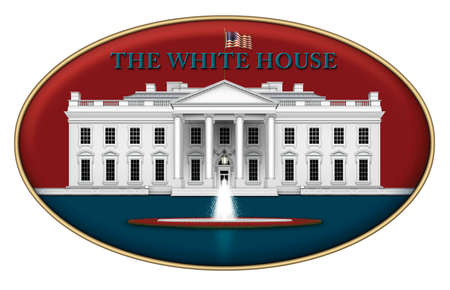 Digital illustration of the north view of the White House, the rose garden , and fountain – set in a red and blue iconic design. 3D Illustration