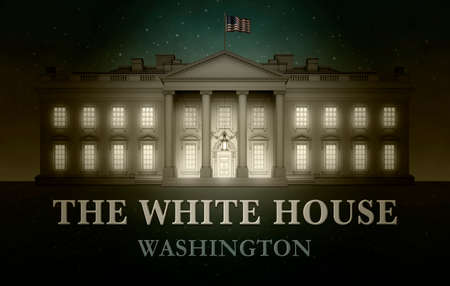 North view of the White House against a starry sky with the words, THE WHITE HOUSE, WASHINGTON. Bright light seen through windows. 3D Illustration Stock Photo