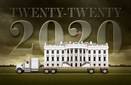 The White House on a flat bed truck with Twenty Tewnty and 2020 written in the background sky. 3D Illustration Stock Photo