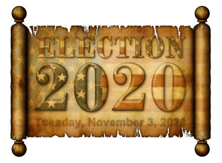 Flag, Election, 2020, Tuesday, November 3, 2020 are all imprinted on an old scroll. 3D illustration.