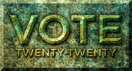 Horizontal green and yellow marble stone. with the raised letters spelling, VOTE and TWENTY TWENTY.  3D Illustration Stock Photo