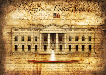 North view of the White House, with waving flag and fountain, isolated agianst and partially transparent over the Bill of Rights from the United States Constitution.  3D Illustration