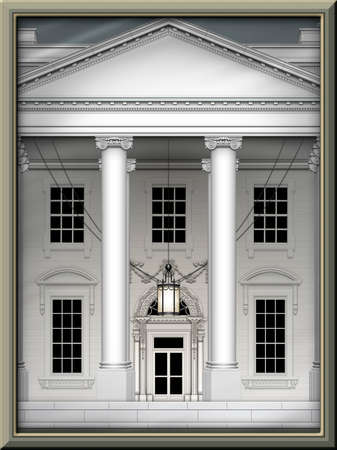 North view of the White House, cropped, and in a picture frame. 3D Illustration Banco de Imagens