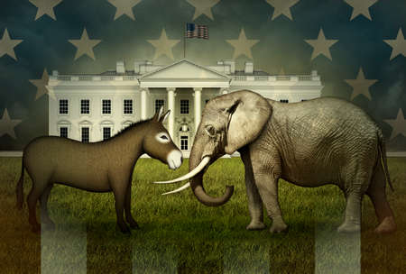 U.S. Stars and Stripes overlay a Democrat Donkey and Republican Elephant facing each other, ready for battle, on the North Lawn of the White House.  3D Illustration Banco de Imagens
