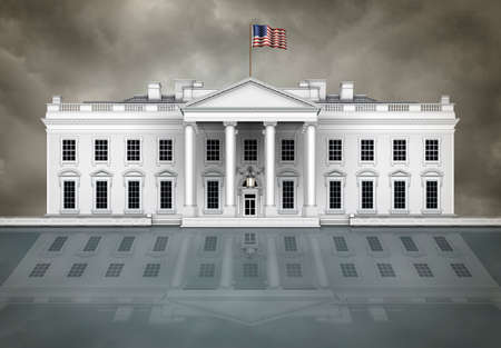 North view of the White House, with waving flag and cloudy sky, on a reflective surface that could be glass or water.  3D Illustration