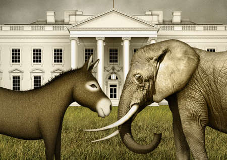 Digital illustration of a democrat donkey face to face with a republican elephant.