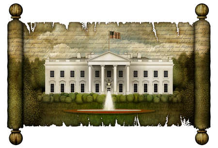 North view of the White House, with shrubbery and multiple trees, imprinted on an unfurled antique scroll. The Declaration of Independence overlays the sky above. 3D Illustration