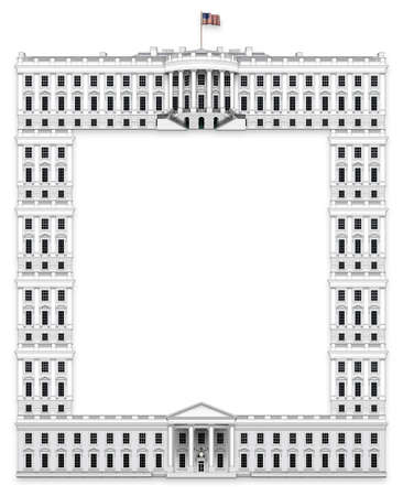 Presidential Executive Border made  with the White House - South View as the top,  North view as the bottom; and with windows and columns from the White House creating both vertical sides of the frame.  3D Illustration