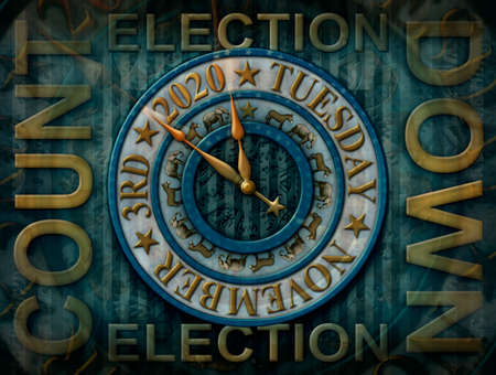 2020 Election countdown clock with the election date and elephants and donkeys representing the Democratic and Republican parties. Gears, stars, and stripes fill the background. 3D Illustration
