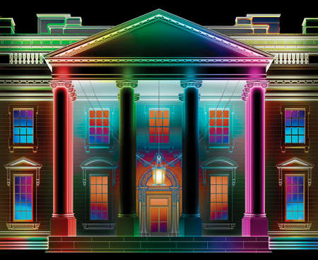 North view of the White House at night, lit up and colored in a wide array of colors. 3D Illustration
