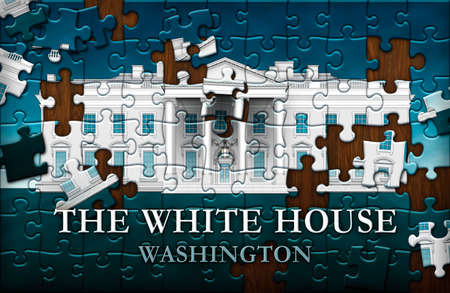Unfinished  Puzzle of the north view of the White House against a bluy sky with the words, THE WHITE HOUSE, WASHINGTON.  3D Illustration