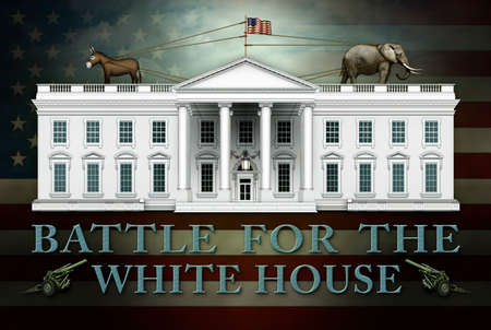 Banner titled Battle For The White House includes U.S. Flag as  the background, two Artillery guns, the White House, and a tug of war between a donkey and an elephant. 3D Illustration