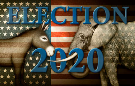 Election 2020 title with a Donkey and Elephant against a stars and stripes background. Banco de Imagens