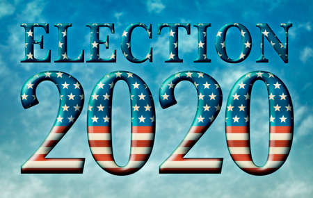 Election 2020 title made from te U.S. Flag Stars and Stripes against a partly cloudy blue sky. Includes a clipping path.