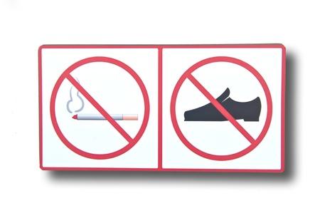 No smoking sign and No foot covering sign photo