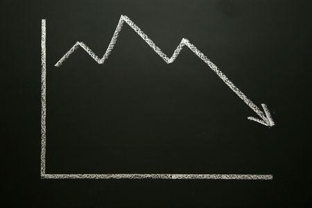 Entreprise graphique sur tableau noir montrant une tendance à la baisse  Banque d'images - 5405559