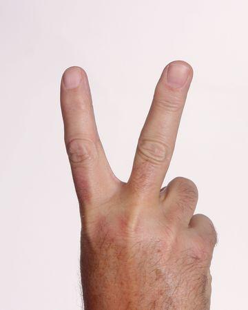 平和または勝利の手手話白 写真素材