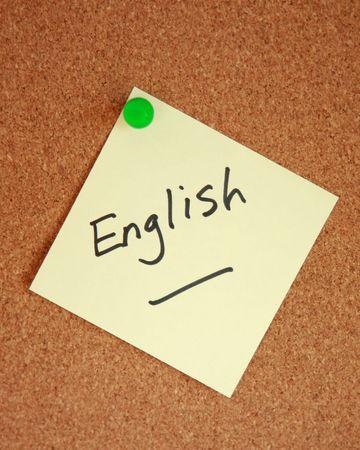 subject: English written on a note stuck to corkboard