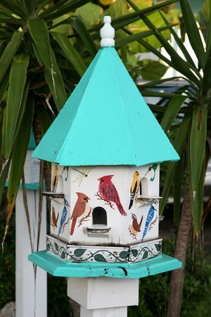 mano che dipinge: Hand painted birdhouse