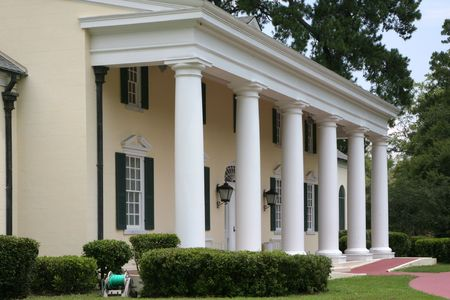 stately home: Southern plantation with wheelchair ramp Stock Photo