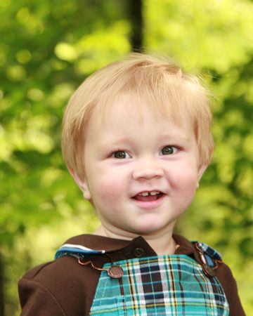 One year old boy with a presious smile Stock Photo - 5528314