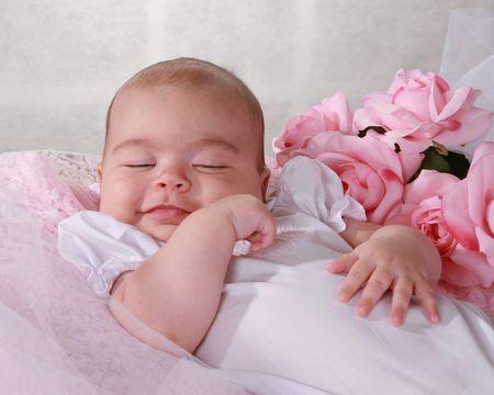 아기 소녀 미소
