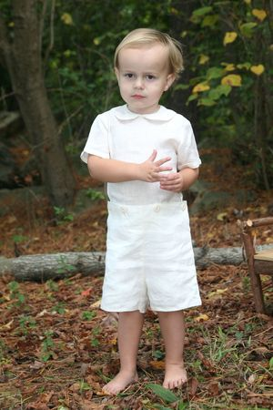 two year old: Two year old boy in a linen summer suit