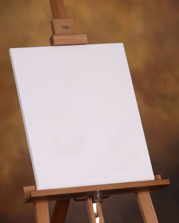 Create your own message or artwork on this canvas resting on an easel photo