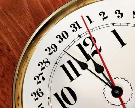 wooden clock: New Years Eve clock Stock Photo
