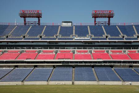 bleachers: Empty professional sports stadium