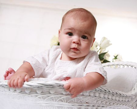 loveable: Six month old baby girl - low angle view