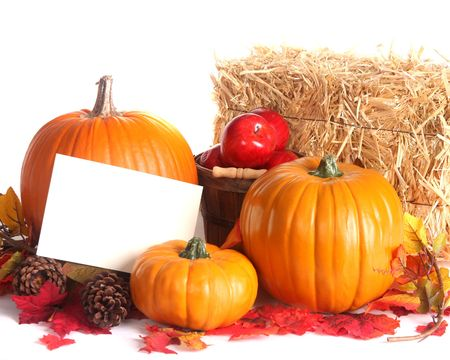 Fall harvest scene with pumpkins, apples and colored leaves photo