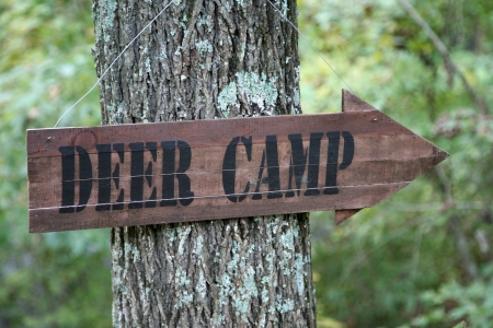 Directional sign pointing towards the DEER CAMP