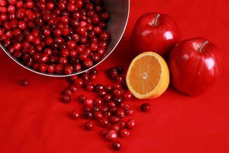 Ingredients for cranberry sauce or relish photo