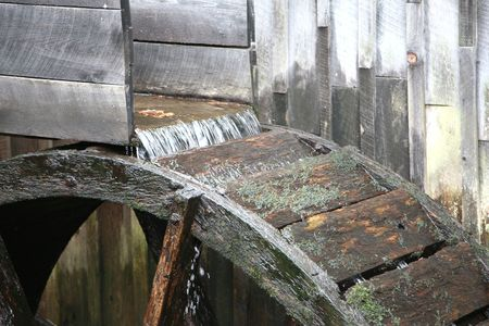 Old fashioned water wheel photo