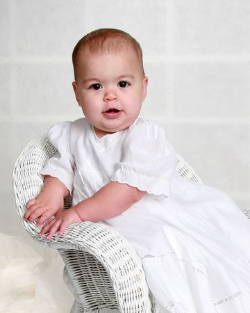 baptize: Baby girl in a long white dress