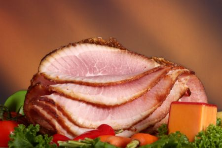 Close up of a holiday ham dinner Stock Photo