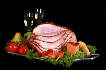 Holiday ham and champagne