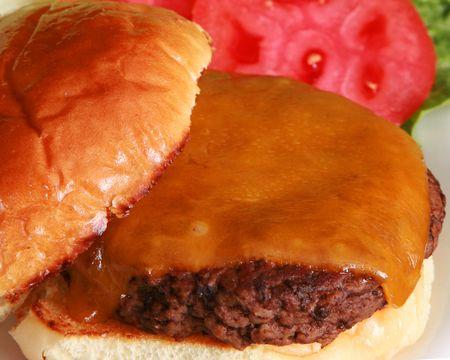 Closeup of a cheeseburger photo