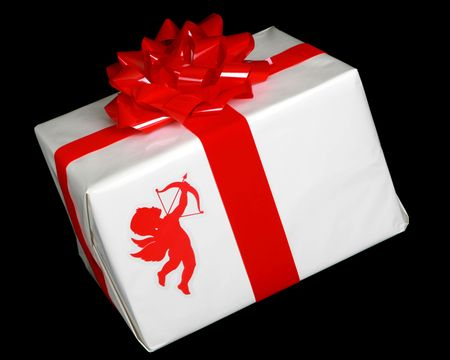 Wrapped present with cupid on the package