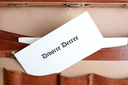 Divorce documents in a leather briefcase 免版税图像